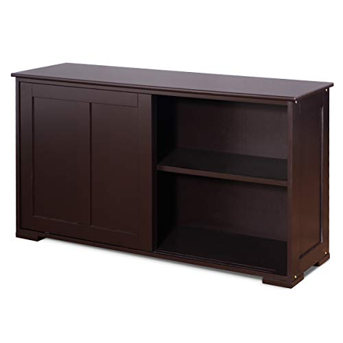 GIANTEX Sideboard mit Türen, Küchenschrank Anrichte mit höhenverstellbarer Ablage, Kommode beistellschrank für Küche, Wohnzimmer oder Flur (Dunkelbraun)