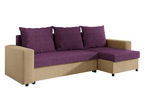 Outlet Ecksofa Top! Sofa Eckcouch Couch! mit Schlaffunktion und 2 Bettkasten! Ottomane Universal, L-Form Schlafsofa (15. Korpus, Seiten: Alova 07; Sitzfläche, Rückenlehne, Kissen: Mikrofaza 23)
