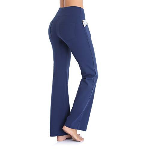 Ollrynns Pantalones de Yoga Mujer Bootcut Pierna Ancha Salón Pantalón de Piltes Cintura Alta Deportivos Leggins con Bolsillos para Yoga Fitness Gym N151 (Azul Profundo, M)