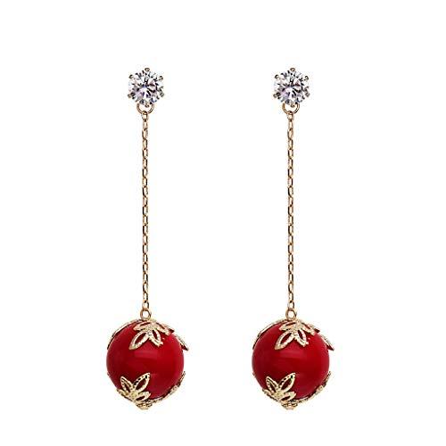 Weimingshop Artificial Red Gem Cuelga Pendientes Golden Drop Pendientes Largos Navidad Joyería de San Valentín Regalos para Las Mujeres Niñas Cubic Zirconia Pendiente Pendientes de Threader (Rojo)