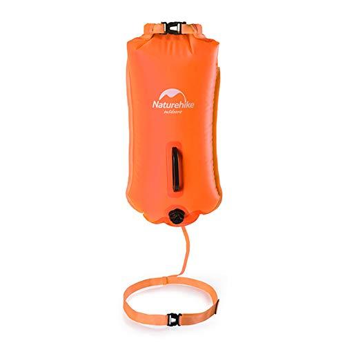 Naturehike 28L Schwimmboje Trockensack mit Verstellbaren Gürtel Aufblasbare Triathlon Boje Open Water für Schwimmer und Triathleten Höchst Sichtbar(orange)