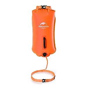 Naturehike 28L Boya de Natación Inflable con Cinturón Ajustable para Aguas Abiertas Flotador de Remolque para Nadadores y Triatletas Alta Visibilidad(Naranja)