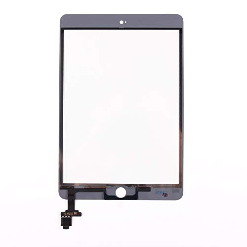 Screen Replacement for IPad Mini 3-SRJTEK Touch Screen Digitizer Glass A1599 A1600,Repair Parts with IC Chip Assembly Kits,Tempered Glass Included,White