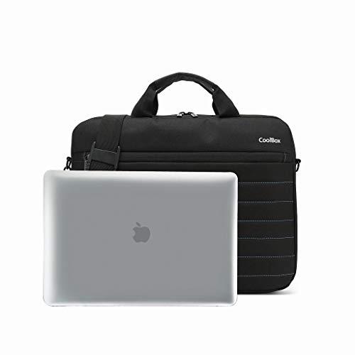 """CoolBox COO-BAG14-1N maletín de transporte para ordenadores portátiles de 14"""" (39cm x 31cm), con asa y correa. Tejido impermeable de color negro y rayas en azul"""