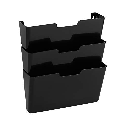 AmazonBasics Organizador archivador de pared colgante de 3 niveles, paquete de 3, 33 x 38 cm, negro