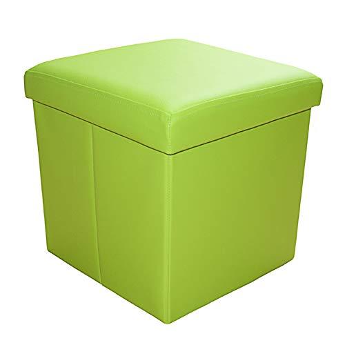 Style home Sitzbank Sitzhocker Aufbewahrungsbox mit Stauraum faltbar, belastbar bis 300 kg, Kunstleder, 38 x 38 x 38 cm (Grün)