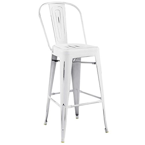Modway Promenade Industrial Modern Aluminum Bistro Bar Stool in White