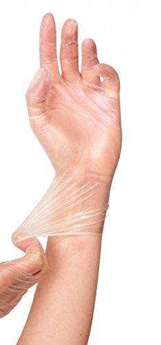10Bags of 100Vinyl Powder Free Gloves–Ideal Light 24cm, White, Farbe: white; size: L