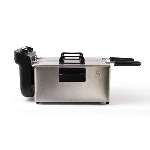 Doppel Fritteuse mit Öl 3300 Watt Friteuse 2 x 3 Liter Geruchsfilter Edelstahl (2 Große Frittierkörbe, Überhitzungsschutz, 1,6 kg Pommes, Emaillebehälter)