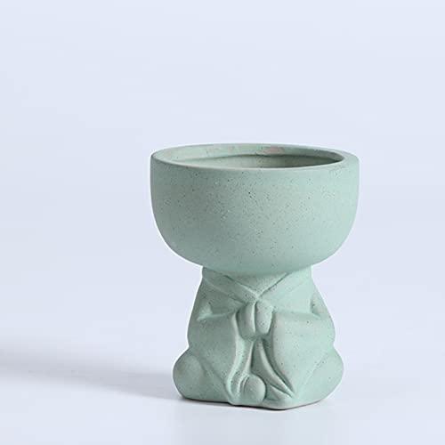 woejgo Pot de fleurs en céramique Nordic Creative - Petit pot de fleurs en céramique - Forme humaine - Pot de fleurs Pokémon avec petits trous - Cactus en céramique (A)