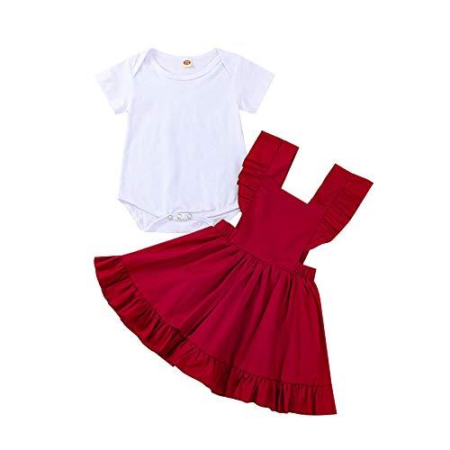 MAHUAOYIXI Vestido de verano completo de dos piezas con pelele de manga corta para bebé + vestido con correa sin mangas con volantes de 3-24 meses Vino rojo 6-12 Meses