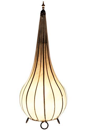 Orientalische Stehlampe Roana Natur 50cm Lederlampe Hennalampe Lampe | Marokkanische Große Stehlampen aus Metall, Lampenschirm aus Leder | Orientalische Dekoration aus Marokko, Farbe Natur