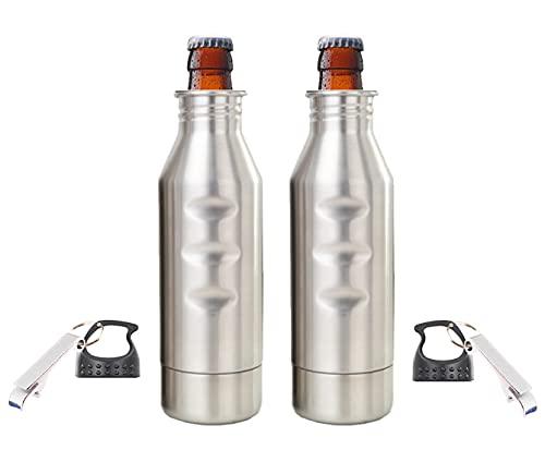 Beer Bottle Insulator, Stainless Steel Bottle Keeper Cooler Keeps Beer Colder, Cap with Beer Opener and Tether, Fit & Protect Standard 12oz Bottles, Beer Bottle Holder for Outdoor or Party