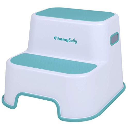 HOMYBABY® Taburete Niños | Escalón Infantil con Superficie Antideslizante Reforzada para Lavabo, WC, Cocina, Cama | Alzador Adaptador WC niños | Taburete Baño Infantil color Turquesa