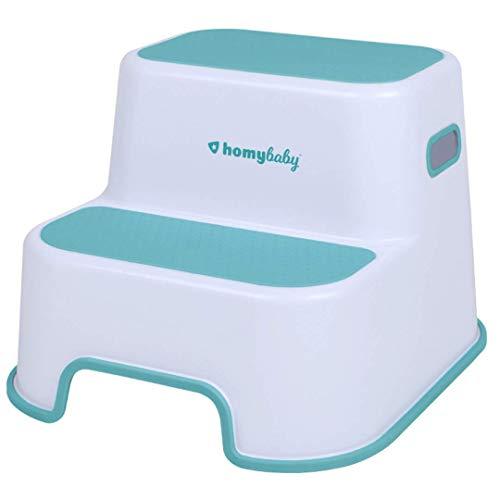 HOMYBABY Taburete Niños | Escalón Infantil con Superficie Antideslizante Reforzada para Lavabo, WC, Cocina, Cama | Alzador Adaptador WC niños | Taburete Baño Infantil color Turquesa
