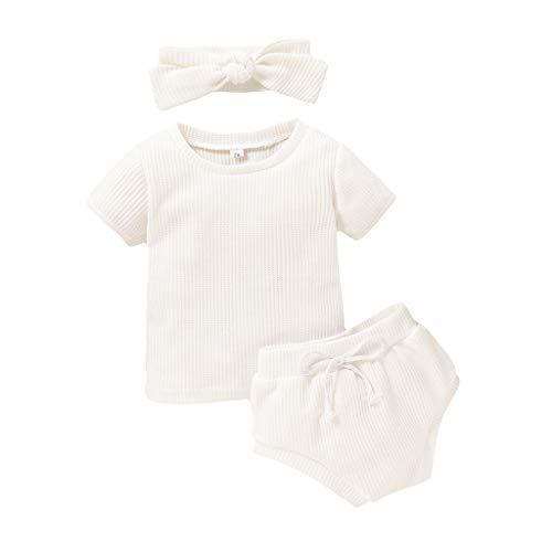 Sunnymi - Set di abbigliamento estivo per bambine da 0 a 3 anni, con pantaloncini e fascia per la testa bianco 12-18 Mese