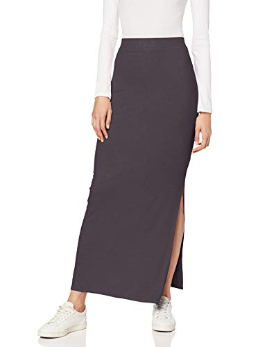 Amazon-Marke: MERAKI Damen Slim Fit Maxi-Rock mit Feinripp, Grau (Grey Blackened Perl), Small