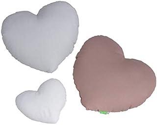 LULANDO Juego de 3 Almohadas con Forma de corazón de algodón en Tres Colores para niños, decoración excepcional para la habitación de los niños, cojín Suave (básico)