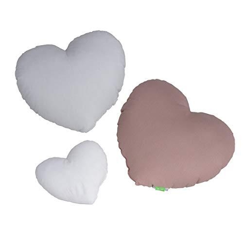 LULANDO KISSEN HERZE (3 Stück) – traumhaftes Set mit Kissen aus Baumwolle in drei Farben für Kinder, außergewöhnliche Dekoration für das Kinderzimmer, weiches Schmusekissen, (basic)