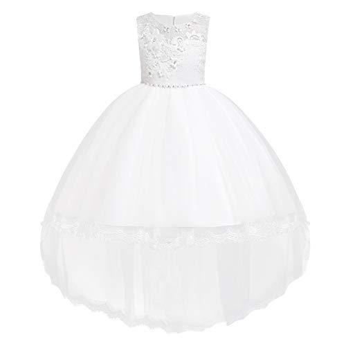 FYMNSI Blumenmädchen Kleid Kinder Tutu Tüll Prinzessin Vokuhila Abendkleid Hi-lo Brautjungfern Hochzeitskleid Mädchen Geburtstag Partykleid Festliches Ballkleid Baby Taufkleid Weiß 7-8 Jahre