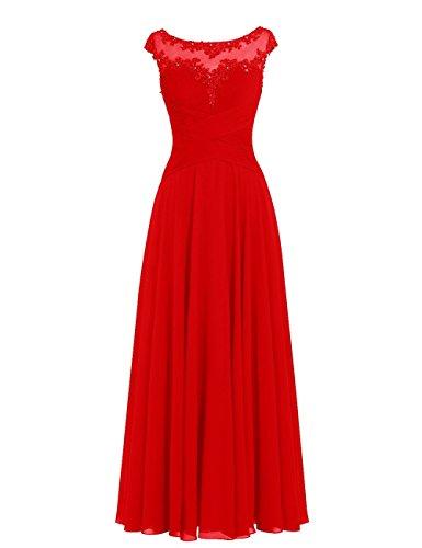 JAEDEN Robe de Bal Longue Robe de mariée Élégant Robe de soirée Robe de fête Robe de Demoiselle d'honneur Rouge EUR34