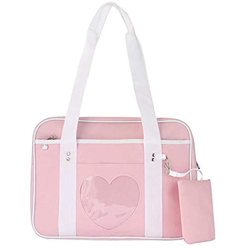 AlwaySky Ita Tasche Herzform Fenster Japanische Schule Handtasche Große JK Tasche Mädchen Duffle Geldbörse Anime Schulranzen für Lolita Comic DIY Cosplay Rosa