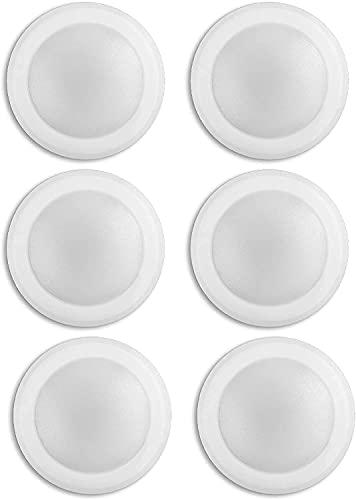 (6 Pack) 7.5' Flush Mount Dimmable LED Disk Light, 15W (120W Equivalent), 120V, 5000K Bright White, White Trim, ETL Listed - Suitable for Wet Locations - 4/6' J-Box