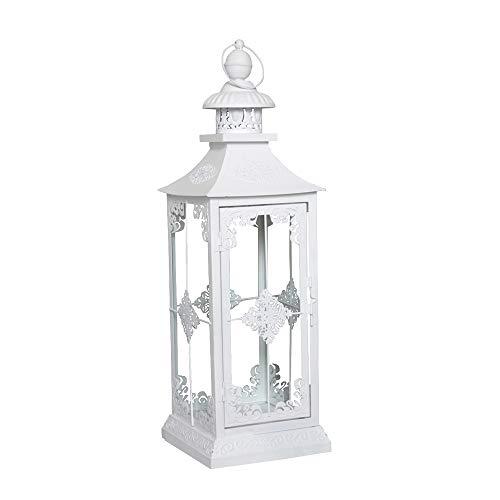 """Lanterna bianca in stile shabby chic """"Chalet"""", altezza 56cm, colore opaco con dettagli..."""
