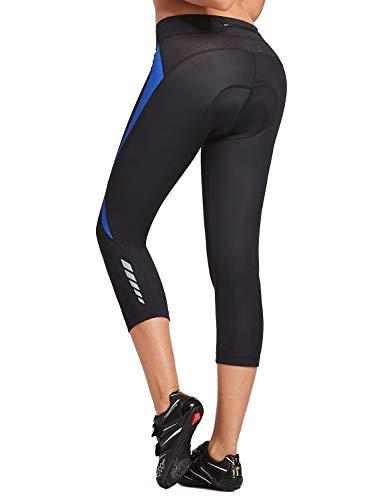 BALEAF Women's 3D Padded Bike Shorts Cycling Pants Biking Capris 3/4 Tights with Padding Pocket UPF 50+ Black-Blue Size L