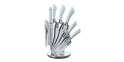 Royalty Line Set de 5 Couteaux en INOX avec Support Acrylique aiguisoir et ciseau KSS750