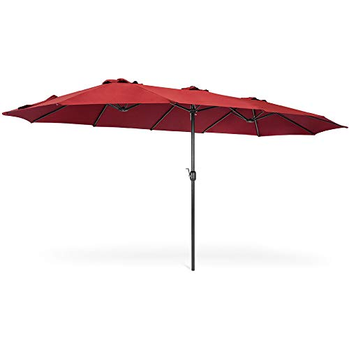 Best Choice Products 15x9ft Large Double-Sided Rectangular Outdoor Aluminum Twin Patio Market Umbrella w/Crank and Wind Vents - Red