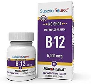Superior Source No Shot Vitamin B12 Methylcobalamin 5000 mcg, Quick Dissolve Sublingual Tablets, 60 Count, Active Form of ...