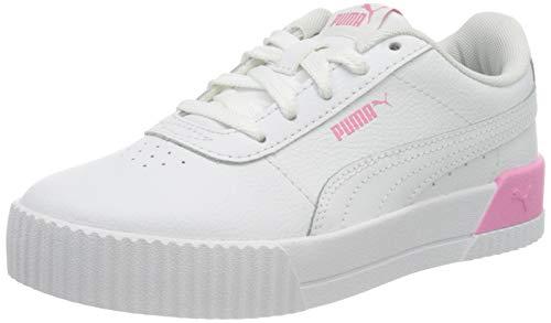 PUMA Mädchen Carina L Ps Sneaker, Weiß - Puma Weiß Puma Weiß Sachet Pink - Größe: 33 EU