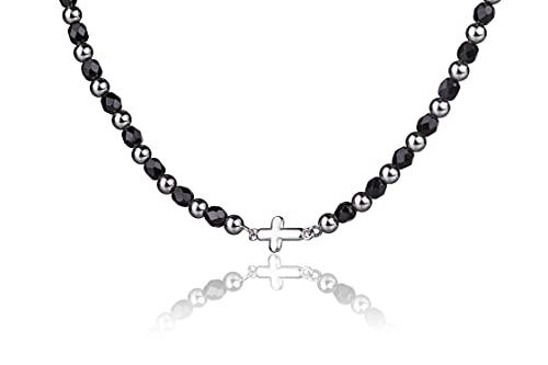 Pulsera con Perlas y Piedras, con una Cruz latina