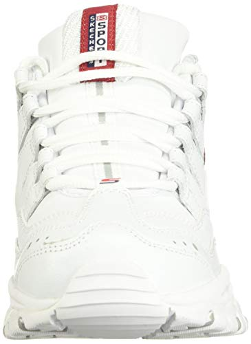 Skechers Energy Timeless Vision, Zapatillas Mujer, Blanco (White Leather/Red & Navy Trim Wml), 38 EU