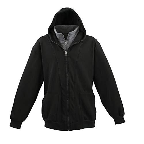 Lavecchia Herren 2in1 Sweatjacke mit Kapuze in schwarz bis Übergröße 8XL, Größe:4XL