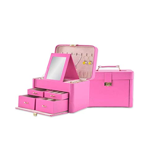 Caja de Almacenamiento de Joyas, Caja de Almacenamiento de Anillo de Collar de Pendientes, Caja de Acabado Inicio, Caja de Almacenamiento de Mesa (Color: Rosa) leilims (Color : Pink)