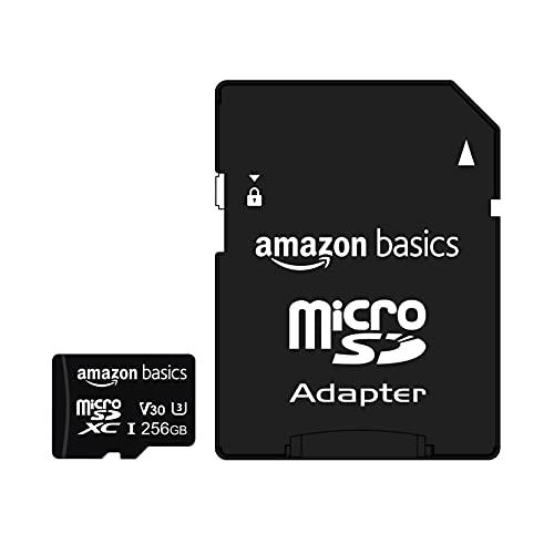 Amazon Basics - Scheda di memoria microSDXC, 256 GB, con adattatore integrale, A2, U3, velocità di lettura fino a 100 MB/s