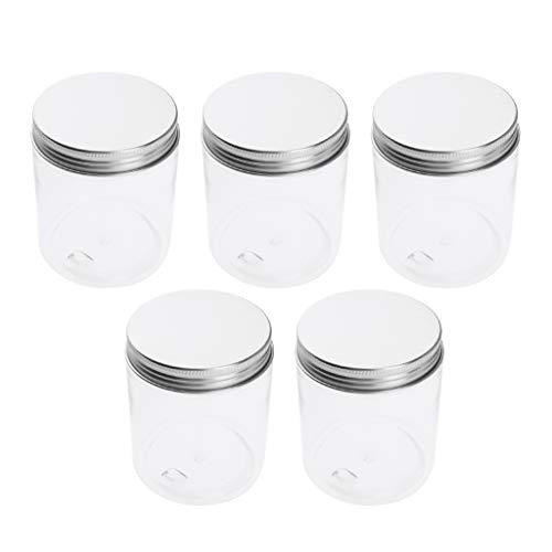 Sharplace 5pcs 250/120 ml Pot Vide en Plastique Récipient Cosmétique avec Couvercle pour Échantillon de Crèmes Stockage de Maquillage - 120 ml 68x50 mm