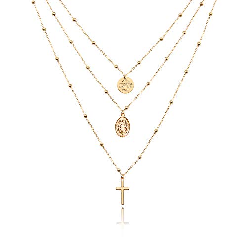 WikiMiu Collana per donna, tre strati con il ciondolo croce di Madonna, collana retro regolabile del girocollo, Gioielli personalità, Colore oro