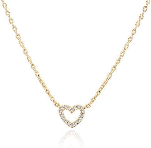 PAVOI 14K Gold Plated Cubic Zirconia Heart Necklace Layered Necklaces Yellow Gold Necklaces product image