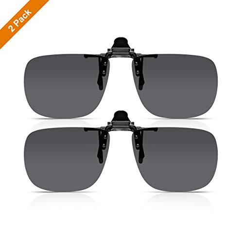 Read Optics 2er Pack Flip-Up Sonnengläser: Brillen werden dank polarisiertem Clip-On Aufsatz zur Sonnenbrille. Getönte UV-400 Gläser für 100% Schutz. Für Herren/Damen in grau aus robustem Polykarbonat