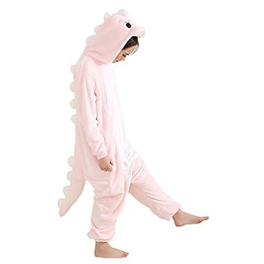 Aoibox Unisex Adult Pink and Dinosaur Animal Cosplay Onesie Pajamas Size M?PinkDinosaur