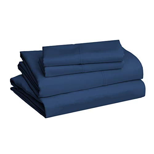 "AmazonBasics Lightweight Super Soft Easy Care Microfiber Sheet Set with 16"" Deep Pockets, Cal King, Navy Blue"