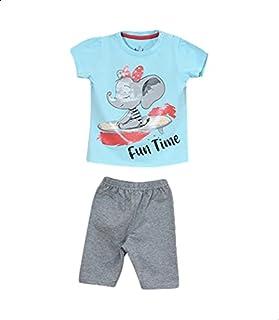 Jockey Printed Snap-Closure Short-Sleeve T-shirt with Elastic-Waist Pants Pajama Set for Girls - Baby Blue and Grey, 6-9 M...