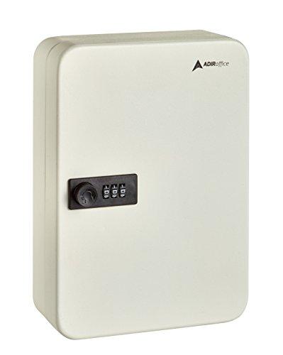 AdirOffice Key Steel Security Cabinet Box - 48 Keys capacity - Combination Lock (White)