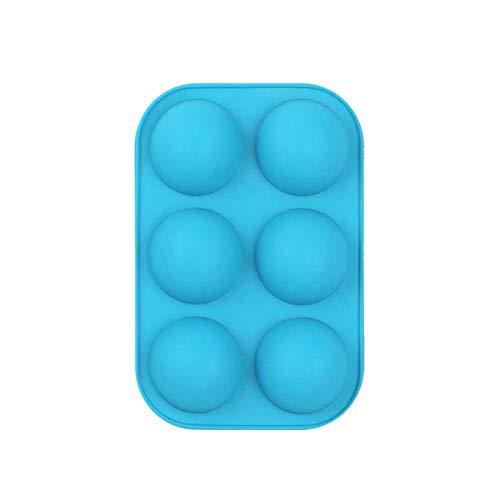 1-3 Stück Mittelhalbkugelige Kieselgelform,Backform zur Herstellung von Schokolade, Kuchen, Gelee, Kuppelmousse-je 6 Hohlräume - Backstein Rot Rosa Schwarz Blau Grün(Blau,1 Stück)
