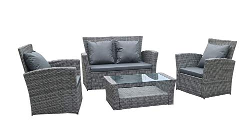 Home Essential 4 Pcs Rattan Garden Furniture Set - 4 Pieces Wicker Furniture Set With FREE WEATHERPROOF FREE PROTECTION COVER (Grey)- AVAILABLE FROM - 03/09/2020