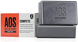 Art of Sport Body Bar Soap (2-Pack), Compete Scent, with Activated Charcoal, Tea Tree Oil, and Shea Butter, for Shower or Hand Soap, 3.75 oz