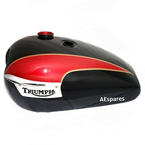 AEspares Se adapta a Triumph T140 Tanque de gas de combustible, pintura negra cereza con tapa insignia y grifo